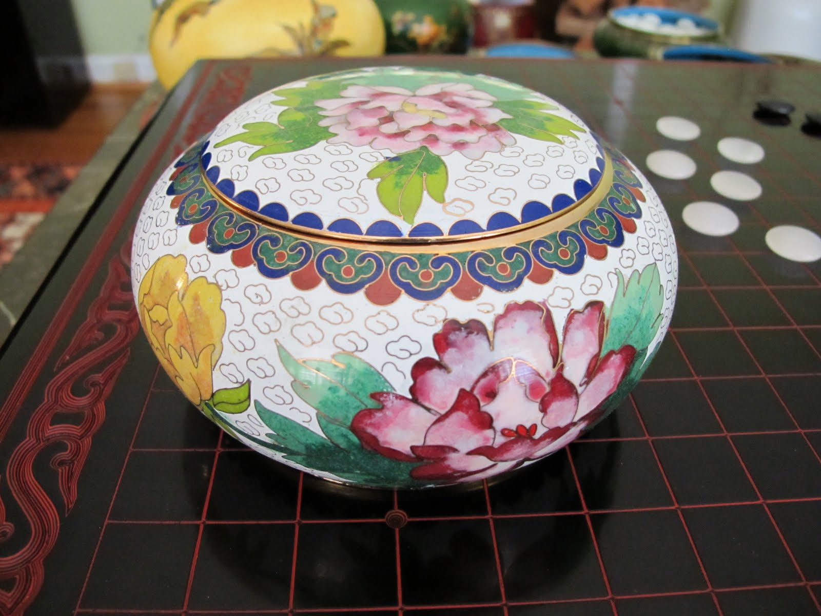 Pink Flower Design - Cloisonne Enamel Bowl (Side View)
