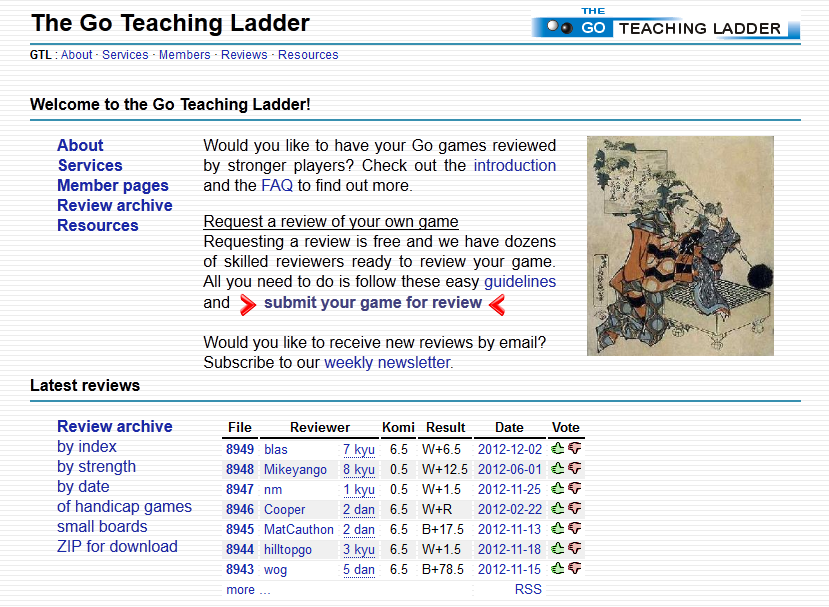Go Teaching Ladder Main Page Screenshot