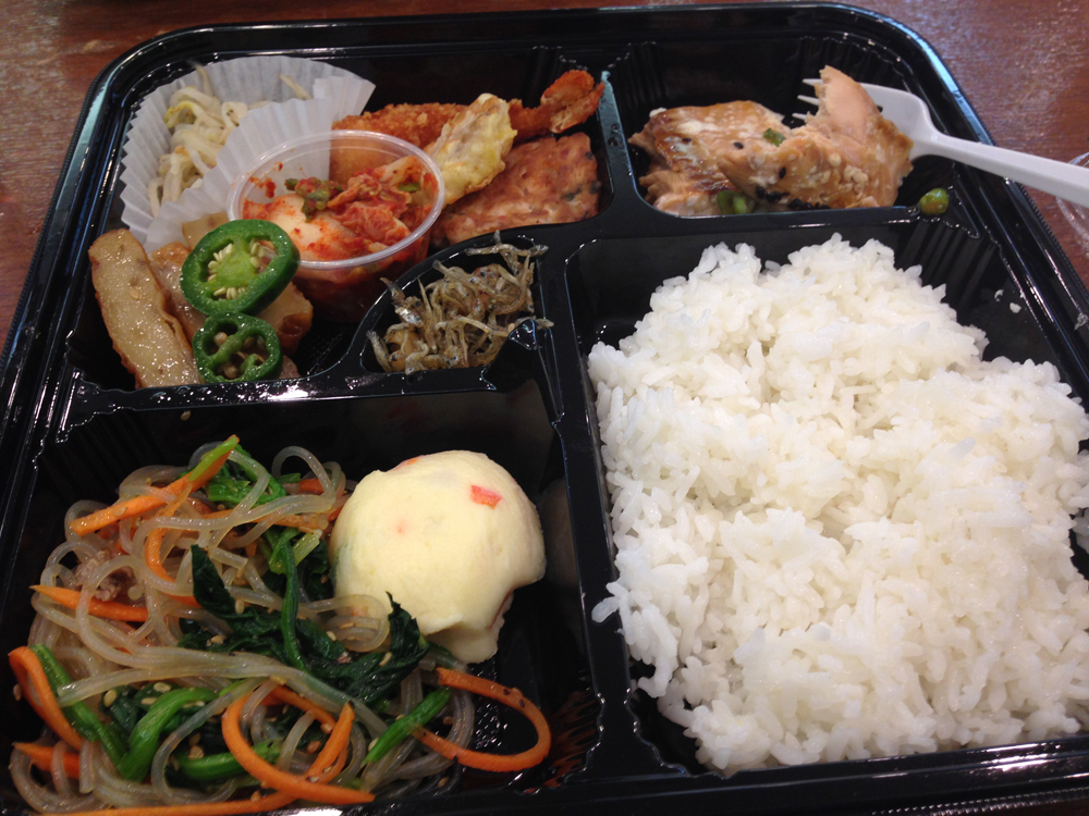 I got the salmon bento box for lunch! There was a variety of things: rice, korean noodle with some vegetables, potato salad, kimchi, bean sprouts, tempura shrimp, and a couple of other things. Very filling!
