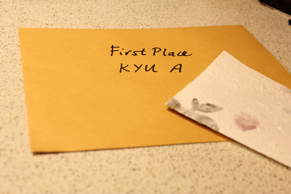 There's my first prize envelope. The cash prize was $200!