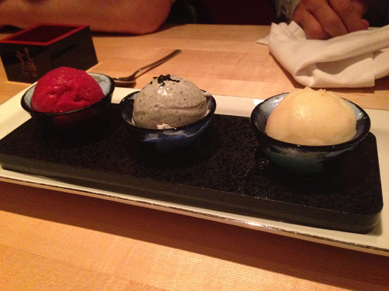 Hibiscus (Left) - Black sesame (middle) - Fuji apple (right). Utterly incredible.